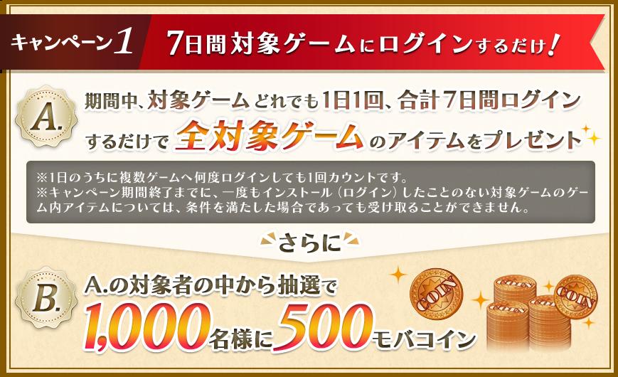 キャンペーン1 7日間対象ゲームにログインするだけ!